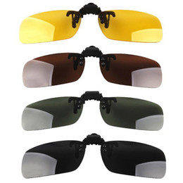 Wholesale Clips For Sunglasses - Wholesale-2015 New Lenses Polarized Flip Up Myopia Sunglasses Clip UV400 Day Night Vision Driving Glasses For Men Women 4 Colors 3 Sizes