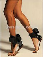 Wholesale Embellished Sandals - Wholesale-Dancer Aminah Abdul Jillil designs adorable sandals 2015 New Embellished Women Flats Ankle Wrap Women Black suede Bow sandals
