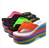 Wholesale Thick Spool Heel Shoes - Wholesale-Fashion Summer Women Sandals Wedges Thick High Heel Platform Sandals Colorful 2015 Leisure Flip-Flops Cool Beach Shoes 35 -39