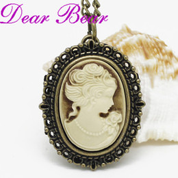 Wholesale Cameo Necklaces - Wholesale-Vintage Brass Victorian Style Cameo Locket Quartz Pocket Watch Necklace 12pcs lot, free ship, S018