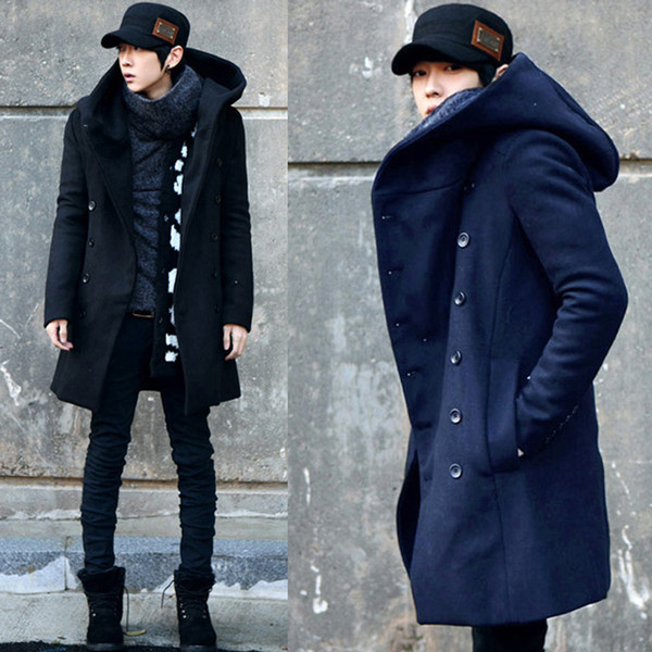 best selling Wholesale-Free Shipping ! New Cheap Winter Korean Special Mens Hooded Pea Coat Slim Fit Long Section Men's Wool  Coat