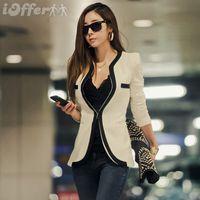 Wholesale Color Block Suit Jacket - Wholesale-Free Shipping Women Suits Blazer Slim Outerwear High Quality White Black Color Block One Button Sleeve Ladies Casual Jacket Coat