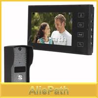 kostenlose video türsprechanlage großhandel-Wholesale-7-Zoll-Farbe LCD-Hände frei Haus-Video-Türsprechanlage Intercom Türklingel-Türsprechanlage mit 6 IR-LED-Kamera / Touch-Taste
