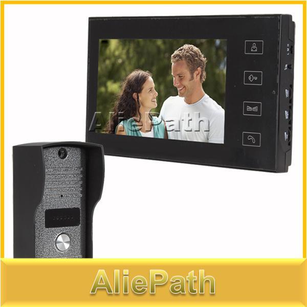 Al por mayor-7 pulgadas a color LCD manos libres Home Video Door Door Intercom Timbre Doorphone sistema con 6 IR LED cámara / Touch Key
