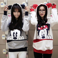 Wholesale Mouse Jumpers - Wholesale-New Mickey Minnie Mouse Ear Emo Sweater Tops Shirt Jumper Hoodie Casual Blouse new hot