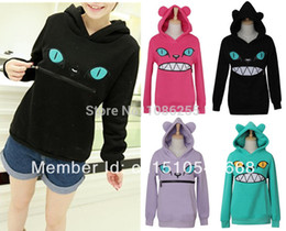 Chemisier À Oreille Pour Chat Pas Cher-Colored Zipper en gros-femmes Sourire Ear Mouth Cat 3D Hoodie Cat avant Pull à manches longues en molleton SweartShirt Tops
