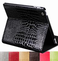 Wholesale Ipad 4th Cases - Wholesale-Smart Stand Premium Crocodile Skin PU Leather Case Cover For iPad 4 4th iPad3 iPad2