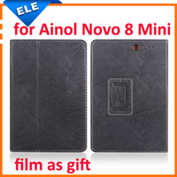 Wholesale Ainol Novo Screen Protector - Wholesale-screen protector as gift original 7.85 inch leather case for ainol novo 8 mini black brown 100% suits high quality free shipping