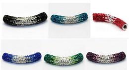 Wholesale Metal Beads For Shamballa Bracelets - Wholesale-15pcs lot 1cm * 5cm mixed 12 color Disco Ball gradual change Crystal Shamballa Beads long bending Tube For Bracelet Wholesale!