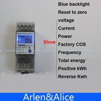 Wholesale Power Energy Meter - Wholesale-5(65)A 230V 50HZ display voltage current Positive reverse power reset to zero Single phase Din rail KWH Watt hour energy meter