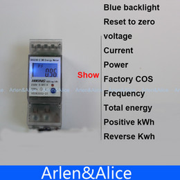 Wholesale Power Meter Digital - Wholesale-5(65)A 230V 50HZ display voltage current Positive reverse power reset to zero Single phase Din rail KWH Watt hour energy meter