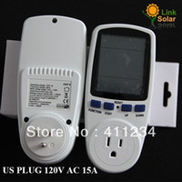 Wholesale High Voltage Power Meters - Wholesale-FREE SHIPPING 120V 15A High Quality US Plug LCD Wattmeter ,Voltage meter,Amper Meter Monitor,Power Meter,Digital POWER Meter
