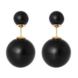 Wholesale Earring Post Stoppers - Acrylic Earring Post Studs Double Sided Ball Beads Black With Stoppers 8.0mm,10 Pairs 2015 new