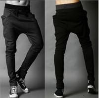 Wholesale harem pants men korean fashion - Wholesale- Unique Design Harem Pants Men's Elastic Waist Sports Pants Korean Cool Slim Fit Sweatpants Drop Crotch Pants Men black