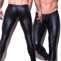 Wholesale Satin Underwear Boxers - Wholesale-1pcs mens N2N brand long pants tight fashion hot black Faux leather sexy boxer underwear sexy panties trousers wholesale
