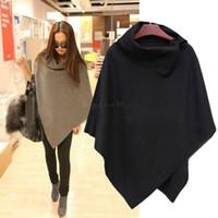 capa de invierno coreano abrigos mujeres al por mayor-Al por mayor-Nuevas mujeres coreanas de las señoras Batwing de lana de gran tamaño Casual Poncho chaqueta de invierno Chaqueta de capa suelta Cape Outwear B11 CB032250