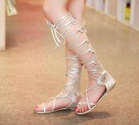 talon de sandales à genou en or achat en gros de-Vente en gros-2015 Nouvelle mode Femmes bretelles argentées en argent Chaussures hautes sandales à talons hauts à glissades hautes talons nouveaux moda sandalia gladiadora
