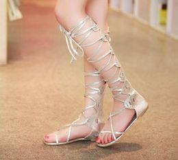 Wholesale Strapped Knee High Heels - Wholesale-2015 New Fashion Women gold silver cross straps Tall flat heel knee high gladiator sandals novos moda sandalia gladiadora