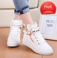 Wholesale Brown Boots Red Zipper - Wholesale-2015 Autumn Women's Shoes Casual Lace Up Boots Zipper Channel Flats Canvas Sport Buckle Rivet Sneakers Anti-slip Womens Shoes