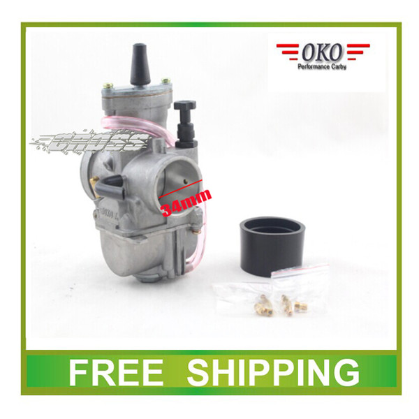 Wholesale-Carburetor 34mm OKO PWK performance racing flat side GY6 scooter buggy go cart ATV 150CC 200CC 250CC 300cc quad free shipping