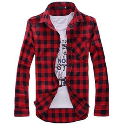 Wholesale Slim Fit Shirt Check Men - Wholesale-Mens Vintage Plaid Check Long Sleeve Shirt Slim Fit Shirts for Men High Quality T-Shirt I194