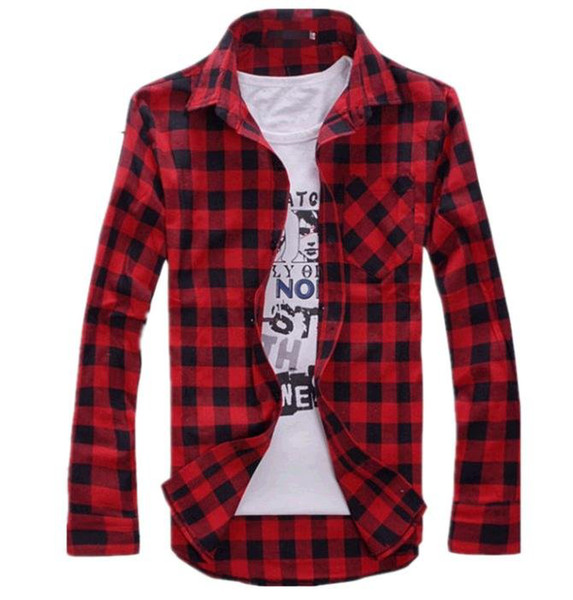 top popular Wholesale-Mens Vintage Plaid Check Long Sleeve Shirt Slim Fit Shirts for Men High Quality T-Shirt I194 2019