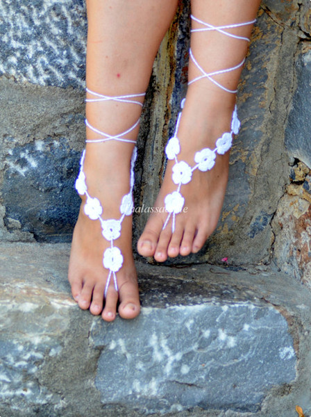 Wholesale-White Floral Barefoot Sandals, Wedding Barefoot, Crochet Sandles, Nude Shoes, Foot Decoration, Yoga, Foot Jewelry, Foot thongs