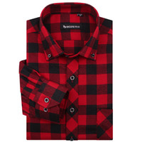 Wholesale Check Shirt Fashion Men - Wholesale-High Quality Famous Brand Men Fashion red and black plaid shirt men Long sleeve Checked Shirts Casual Slim fit Thickening MG34