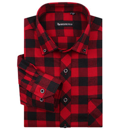 Wholesale Thickening Plaid Shirt - Wholesale-High Quality Famous Brand Men Fashion red and black plaid shirt men Long sleeve Checked Shirts Casual Slim fit Thickening MG34