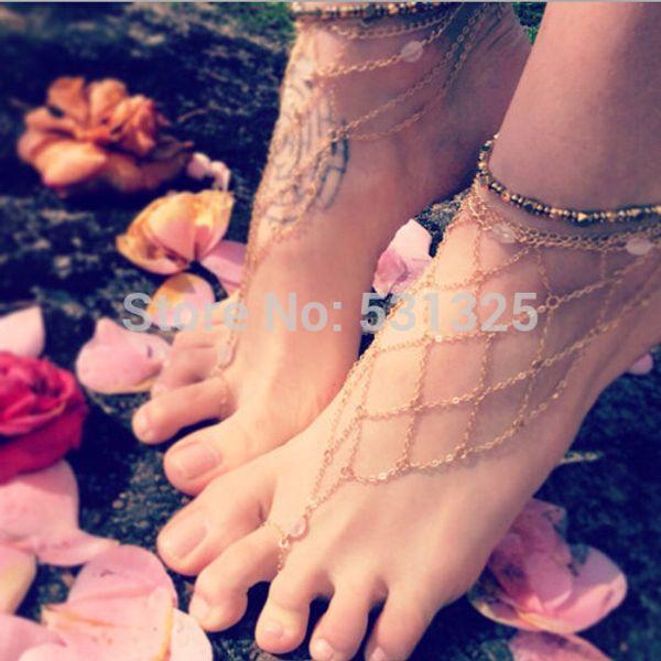 Оптовая-босиком сандалии раб золото сети сетки ножной браслет многослойная сеть ног ювелирные изделия ножной браслет