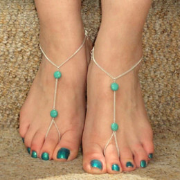 Wholesale Sandals For Models - Wholesale-Hot Sell Summer Explosion Models Bohemian Retro Turquoise Anklets Even Toe Barefoot Sandals Foot Anklet For Women
