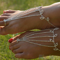 Wholesale dancing anklets feet resale online - Barefoot anklets Sandals Foot Jewelry Beach Dancing Wedding Ankle Bracelet Chain VX