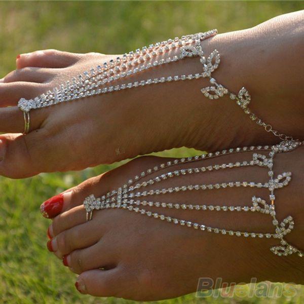 Atacado-5PCs / 1lot Tornozeleiras com os pés descalços Sandálias Pé Jóias Beach Dancing Wedding Ankle Bracelet Cadeia 06VX