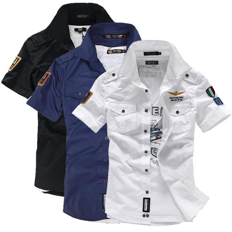 Wholesale- NEW short sleeve shirts Fashion airforce uniform  short sleeve shirts men's dress shirt free shipping