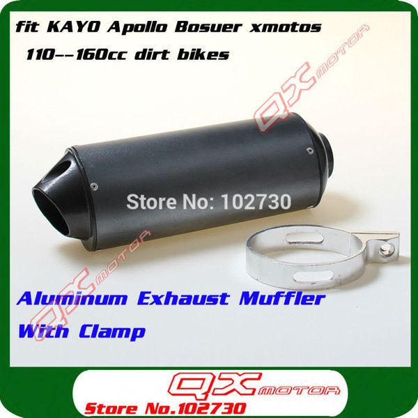 Wholesale-Free Shipping Aluminum Exhaust Muffler With Clamp For KAYO Apollo Bosuer xmotos 110 125 140 150 160cc CRF KLX TTR Pit Dirt Bikes