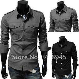 Wholesale Strechy Dresses - Wholesale-1 pcs Mens casual premium strechy slim fit dress shirts ,dress shirt Best Selling+Free shipping