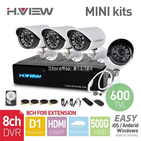 Großverkauf-8CH D1 HDMI MINI DVR 4PCS 600TVL IR im Freien wetterfeste Überwachungskamera 24LEDs 500G HDD-Sicherheitssystem-Überwachungs-Ausrüstungen