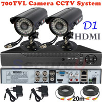 Wholesale Hd Thermal Camera - Wholesale-Sale 2ch cctv kit security surveillance alarm system 700TVL thermal video hd camera 4ch D1 DVR digital video recorder HDMI 1080P