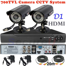 Video Security Camera Systems Canada - Wholesale-Sale 2ch cctv kit security surveillance alarm system 700TVL thermal video hd camera 4ch D1 DVR digital video recorder HDMI 1080P