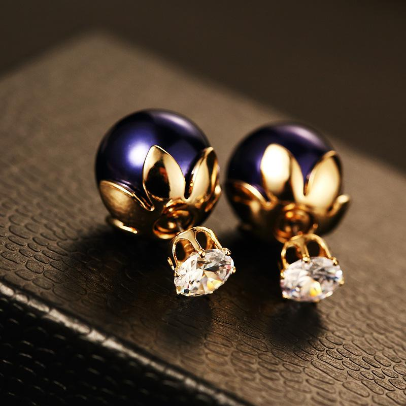 2019 Big Gold Stud Earrings For Women Big Pearl Fashion