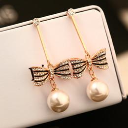 Wholesale Earrings Bowknot - for women glod long dangle earrings fashion jewelry bowknot pearl vintage earings indian brincos grandes big brand cute girl