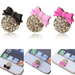 Wholesale Iphone 5s Bow - Wholesale-Cute 3D Home Button Stickers For iPhone 4,4s,5,5c,5s Crystal Bling Crystal Bow
