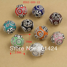 Wholesale Tibetan Clay Beads - Wholesale-free shipping 7pcs 63-689 handmade Indian Nepalese Indonesian tibetan beads 14x16mm cooper alloy clay vintage round beads