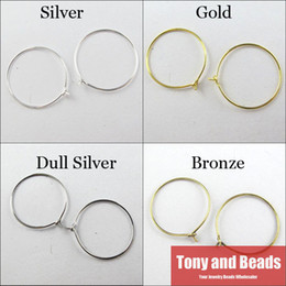 Wholesale 25mm Earring - Wholesale-(250Pcs=1Lot ! ) Free Shipping Large Round Hoop Earring Finding Hook 25MM Gold Dull Silver Bronze Plated For Jewelry Making EW13
