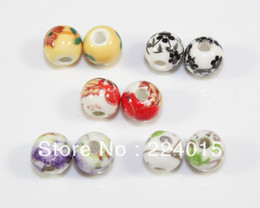 Wholesale Diy Loose Ceramic Beads - Wholesale-Free Shipping!100pcs 6mm Mixed Chinese Style Flower Round Ceramic Beads Porcelain Loose Beads Fit Jewelry DIY ,B1143#