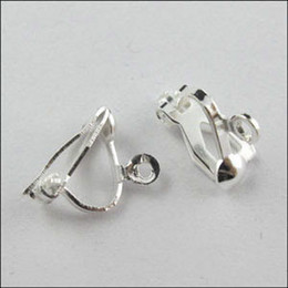 Wholesale Earwire Earrings - Wholesale-(30Pcs=1Lot ! ) Free Shipping Earring Finding Clip On Earring Earwire Gold Silver Bronze Plated For Jewelry Making