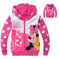 Wholesale Outwear Kids Jacket - Wholesale-New 2015 baby girls hoody cartoon minnie mouse jacket coats 2-8yrs girl outwear baby&kids autumn clothes wear girls jacket