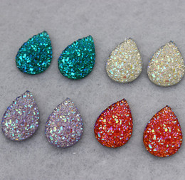 Wholesale Flat Back Resins Beads - Wholesale-200pcs 13*18mm Crystal AB Color Resin Rhinestones Drop flat back Beads crafts Scrapbook