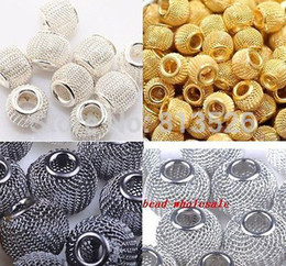 Wholesale Metal Basketball Bead - Wholesale-OMH wholesale 20pcs Silver Golden Black Basketball Wives Earrings Lots Spacer Mesh Beads 12mm