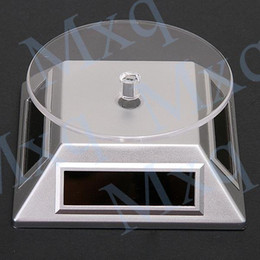 Wholesale Rotary Stands - Wholesale-Exhibition Stand Solar Auto Rotating Display Stand Rotary Turn Table Plate For mobile MP4 Watch jewelry VIP Store
